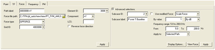 NVH-Utilities Browser/Transfer Path Analysis – Load > Path > Path Details dialog > Force sub-tab