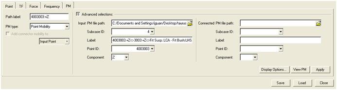 NVH-Utilities Browser/Transfer Path Analysis – Load > Path > Path Details dialog > PM sub-tab