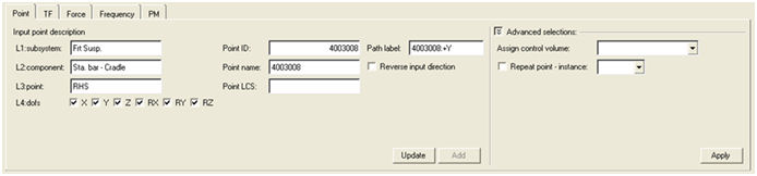NVH-Utilities Browser/Transfer Path Analysis – Load > Path > Path Details dialog > Point sub-tab