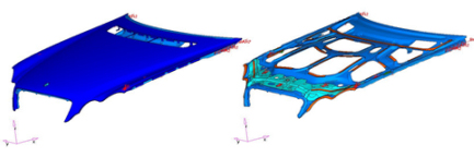 Hood support structure from OptiStruct