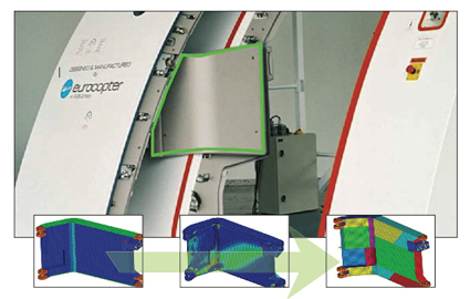 Optimization of an airplane door hinge (Courtesy of Eurocopter)