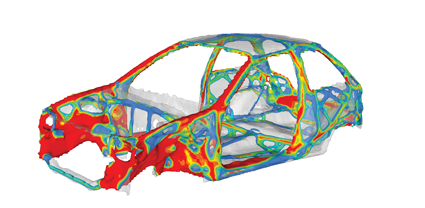 An example of optimization study of  a car structural architecture with Altair OptiStruct