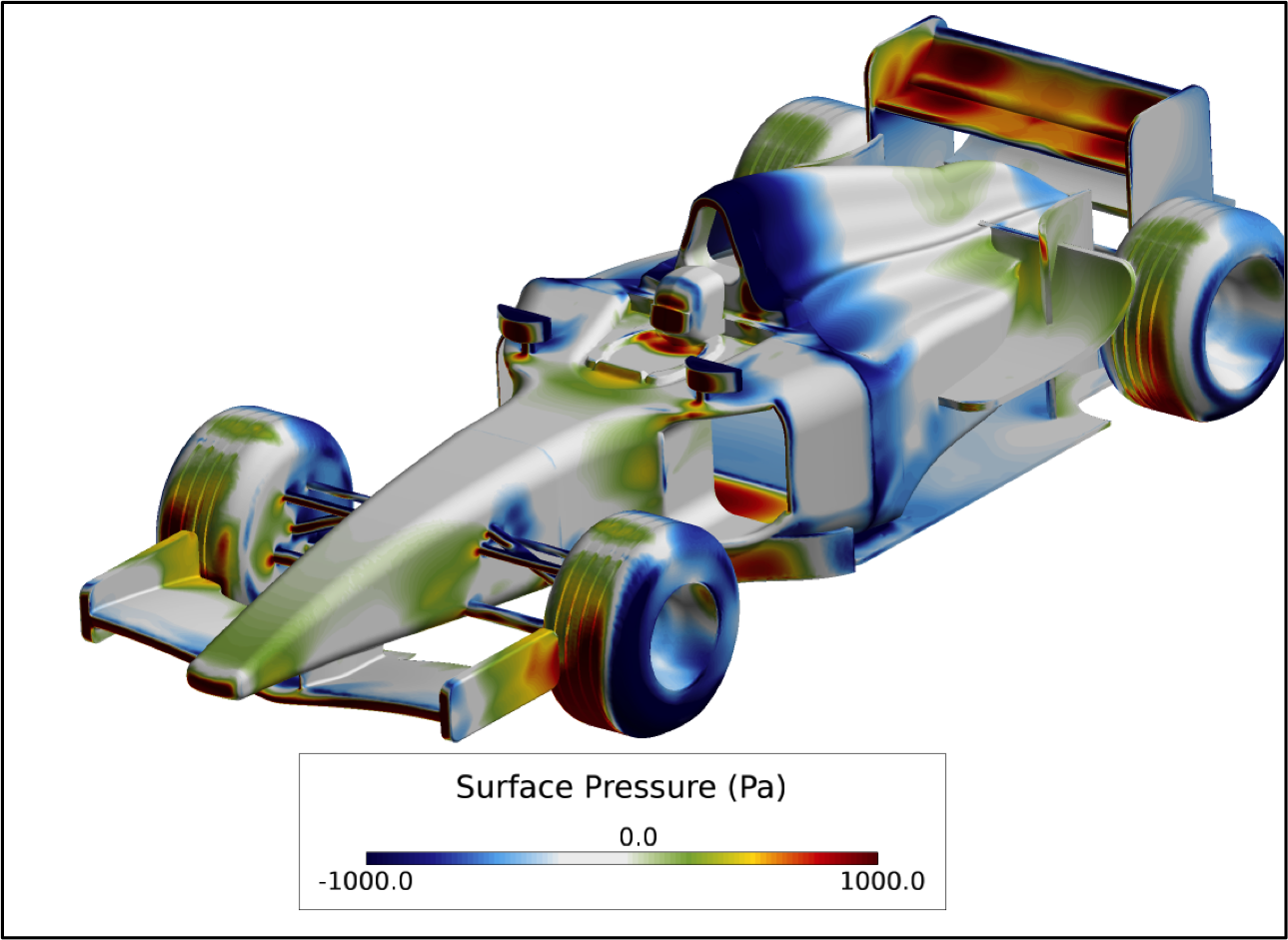 Figure 1. Results from a steady state CFD simulation showing contours of surface pressure on a nominal open wheel race car.