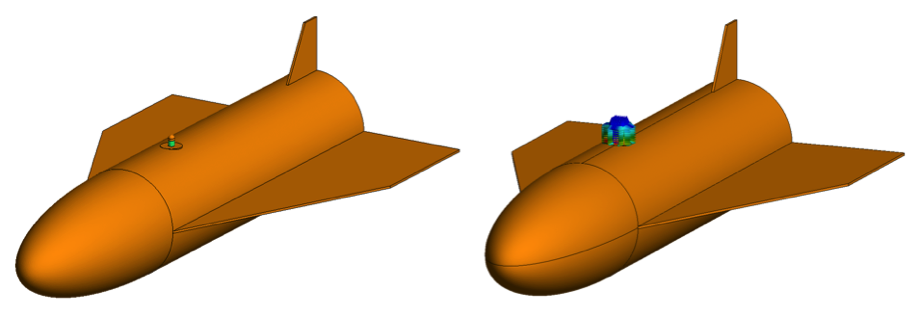 Figure 3: Monopole antenna (MVG SM600) working at 7.5 GHz and 15 GHz mounted on the roof of a space plane mockup (being the plane 25λ long at the highest frequency). Screen shots from FEKO – Full simulation, left, and equivalent model, right.